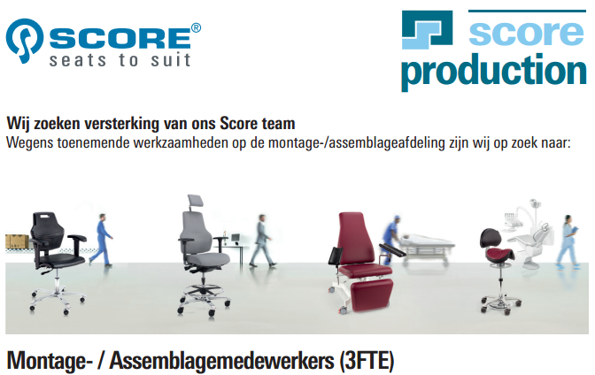 Score Production - Vacature: Montage- / Assemblagemedewerkers